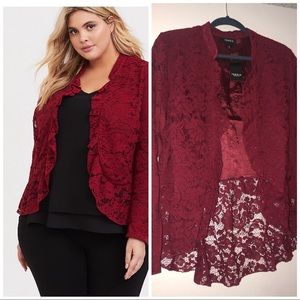Torrid Red Lace Peplum Military Jacket
